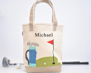 Personalized Kids Golf Tote, Boys Preschool tote bag