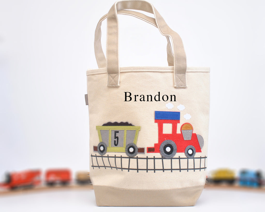 Personalized Medium Train Tote, Boys Preschool tote bag