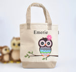 Personalized Owl Tote bag, Girls Preschool tote Bag