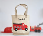 Personalized Medium Fire Truck Tote, Boys Preschool, Library tote bag