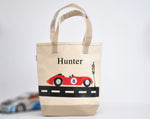 Personalized Medium Car Tote bag, Preschool tote bag, Kids Race Car Library Bag