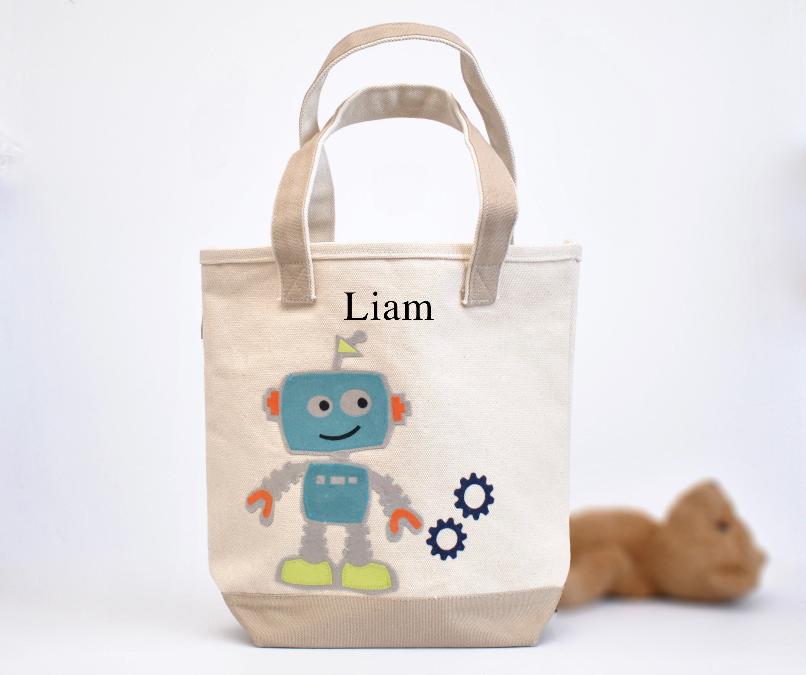 Personalized Robot Tote Bag| Big Brother tote| Preschool Tote bag|Library book bag