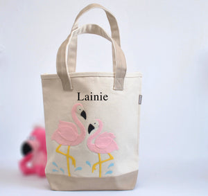 Personalized Flamingo Butterfly Tote, Girls Preschool tote Bag, Welcome tote
