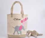 Personalized Medium Elephant Tote (Pink), Elephant Nursery Baby Shower gift, Valentine gift