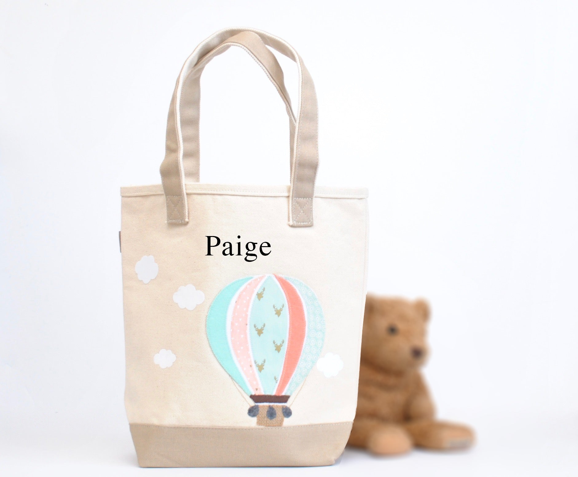 Mint Hot Air Balloon Tote, Personalized Nursery Baby Shower gift,  Kids Library bag