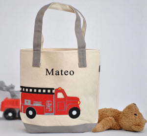 Large Fire Truck Tote, Boys Preschool, Library tote bag