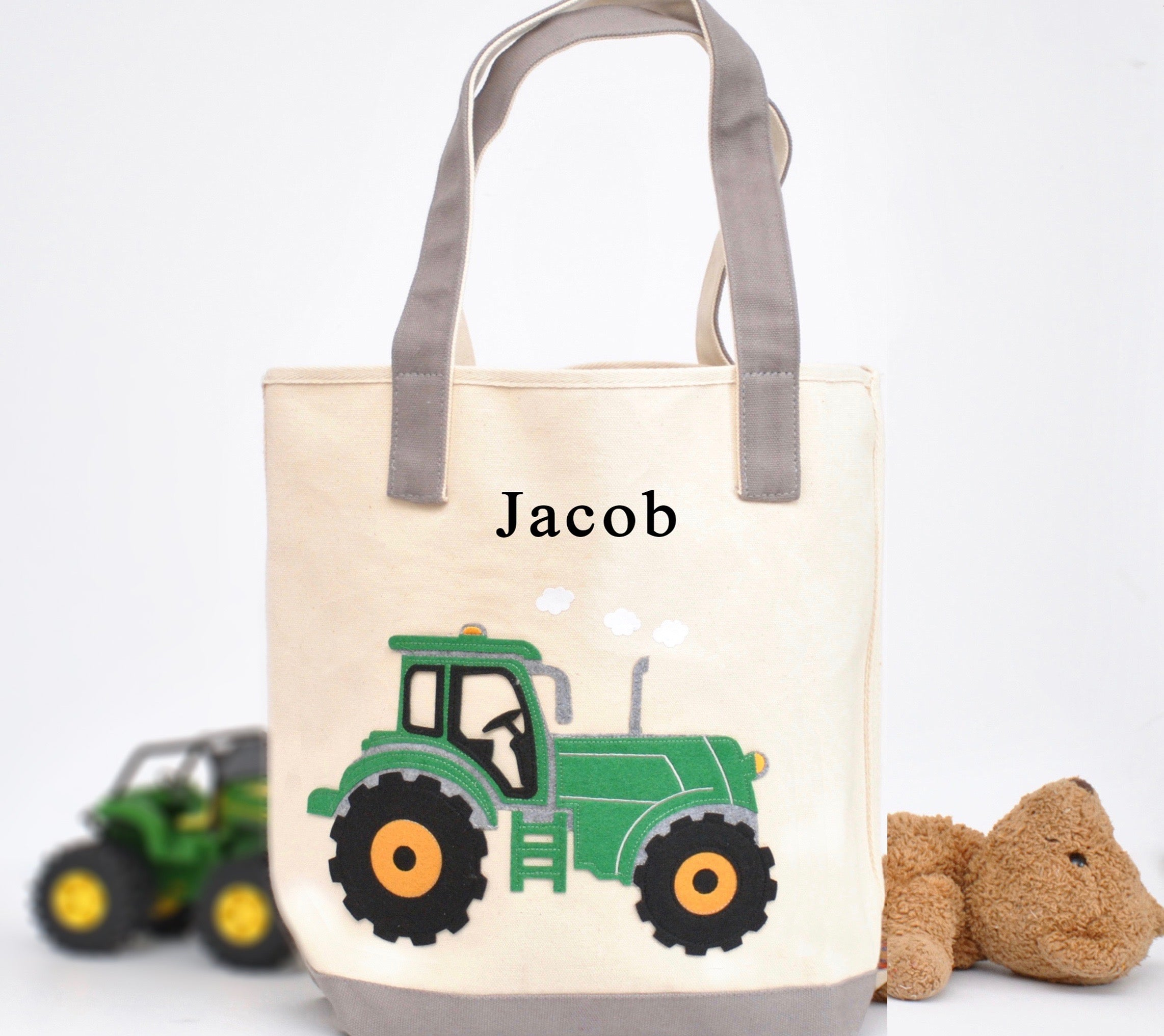 Personalized Large Tractor Tote, Boys Preschool tote bag