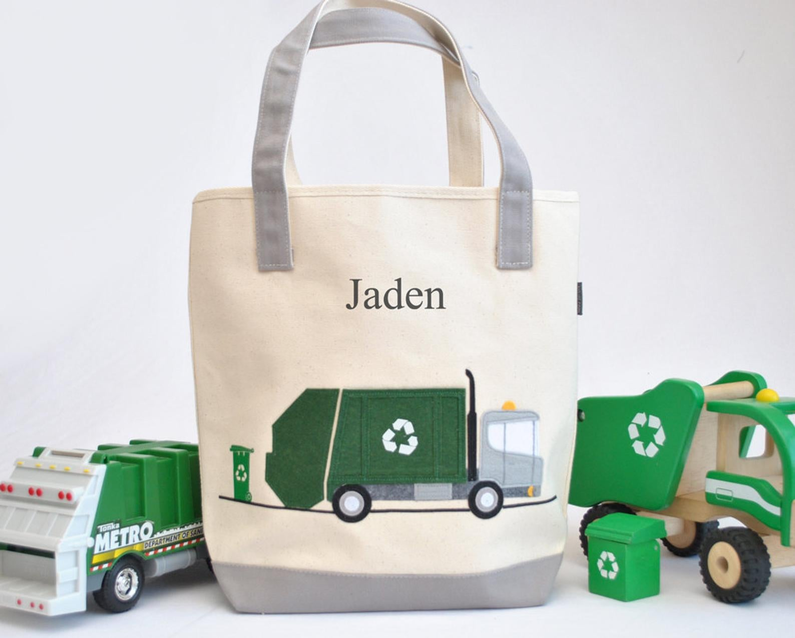 Personalized large Garbage Truck , Boys Preschool tote bag