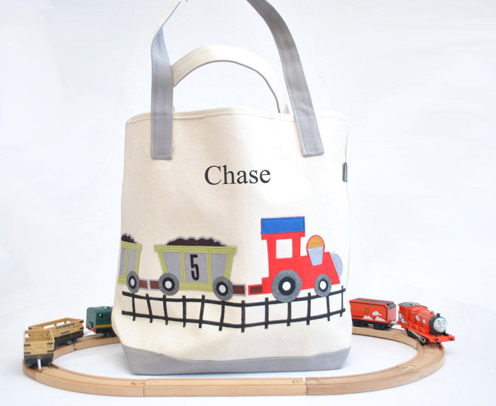 Personalized Large Train Tote, Boys Preschool tote bag