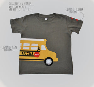 School Bus Appliqué Birthday Shirt