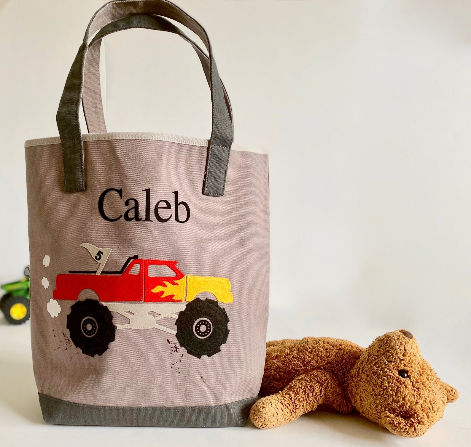 Gray Personalized Monster Truck Tote , Boys Preschool tote bag