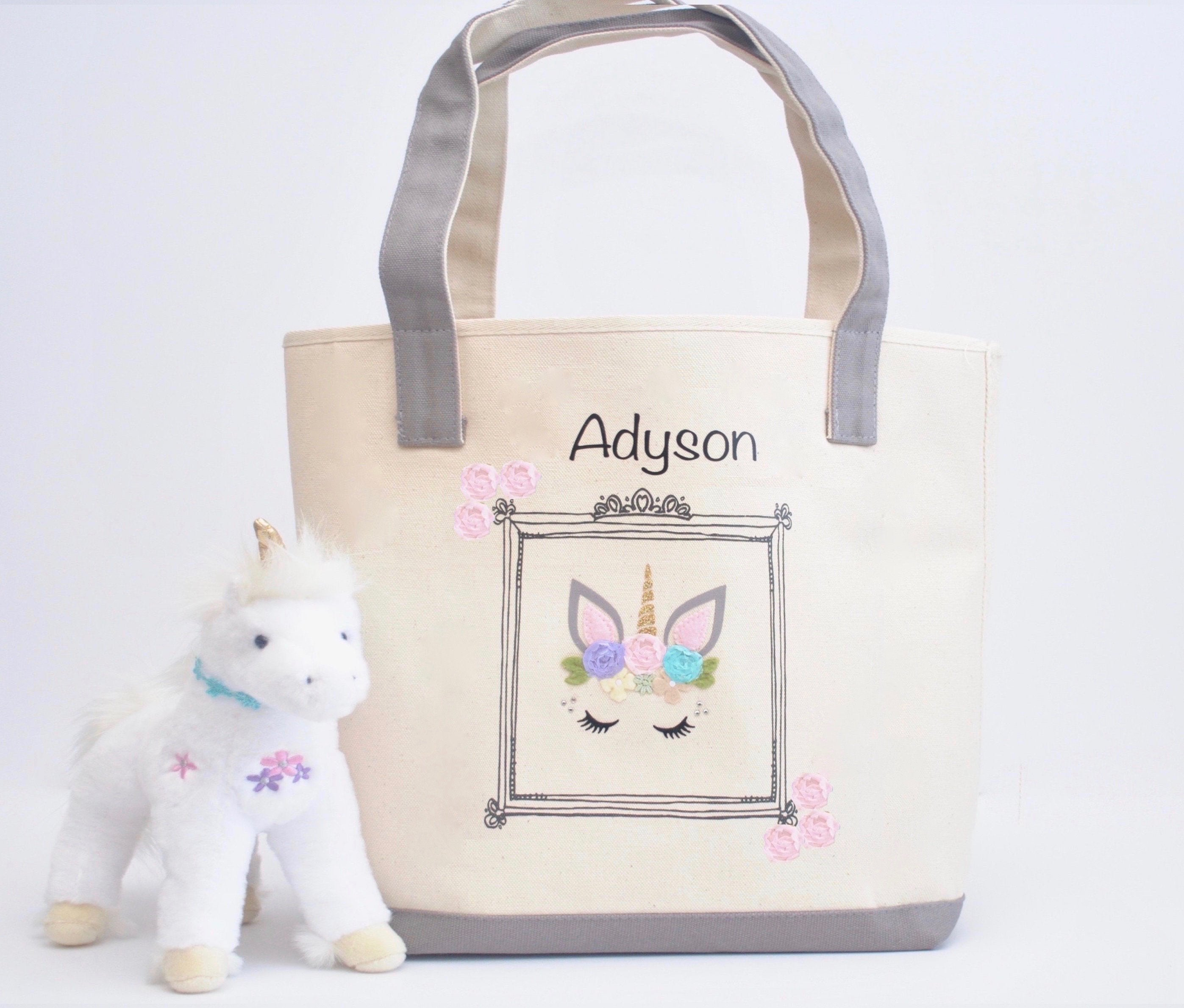 Personalized Large Unicorn Face tote bag, Girls Library book bag, Preschool Tote bag