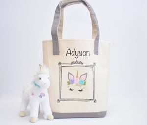 Personalized Unicorn Face tote bag, Girls Library book bag, Preschool Tote bag
