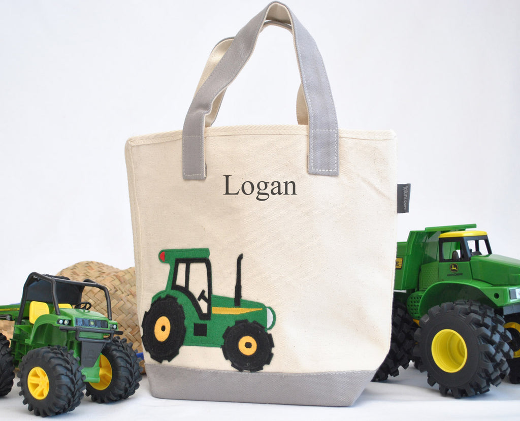 Personalized Small Tractor Tote, Boys Preschool tote bag