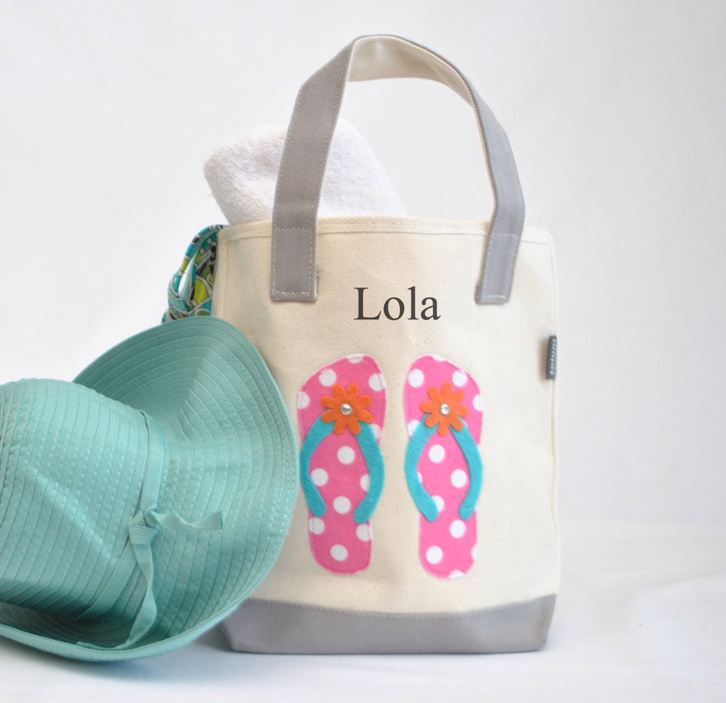 Small Pink Flip Flop Tote Bag, Swim and Beach tote