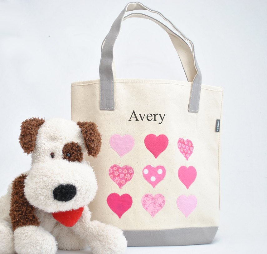 Personalized Medium Hearts Tote bag, Valentine gift tote