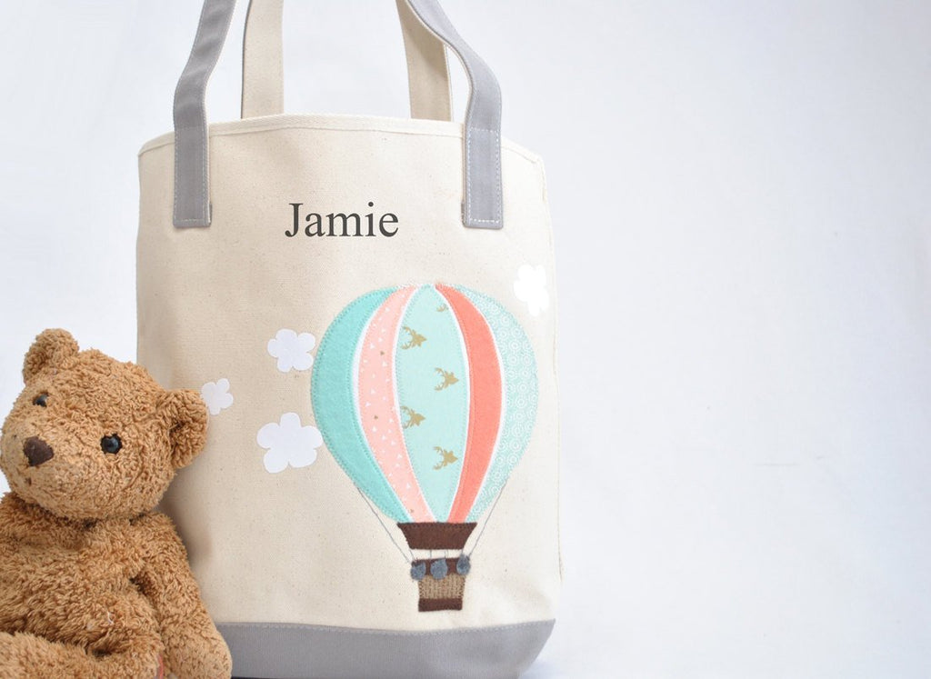 Large Mint Hot Air Balloon Tote, Personalized Nursery Baby Shower gift,  Kids Library bag