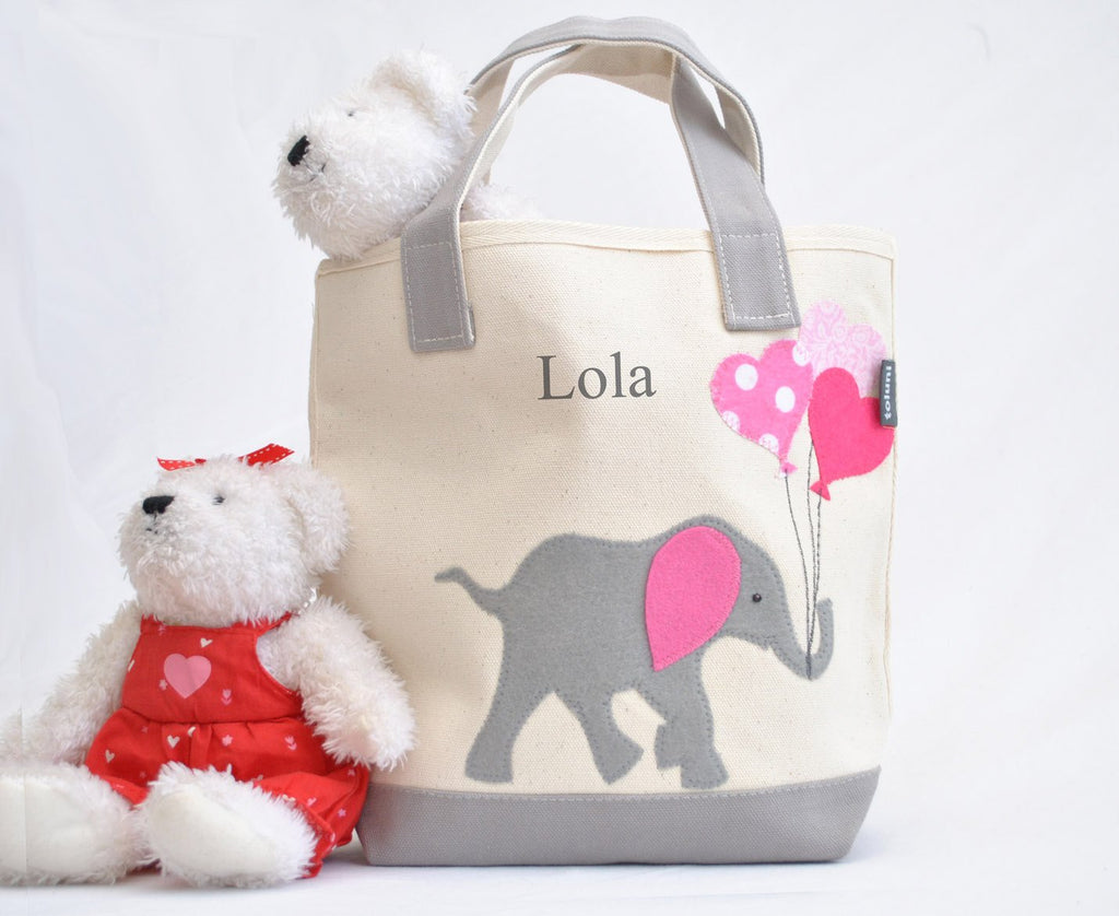 Personalized Small Elephant Tote (Pink), Elephant Nursery Baby Shower gift, Valentine gift