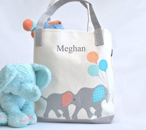 Personalized Large Elephant Tote, Elephant Nursery Baby Shower gift,  Kids Library bag