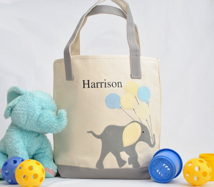 Personalized Medium Elephant Tote (Yellow), Elephant Nursery Baby Shower gift,  Kids Library bag