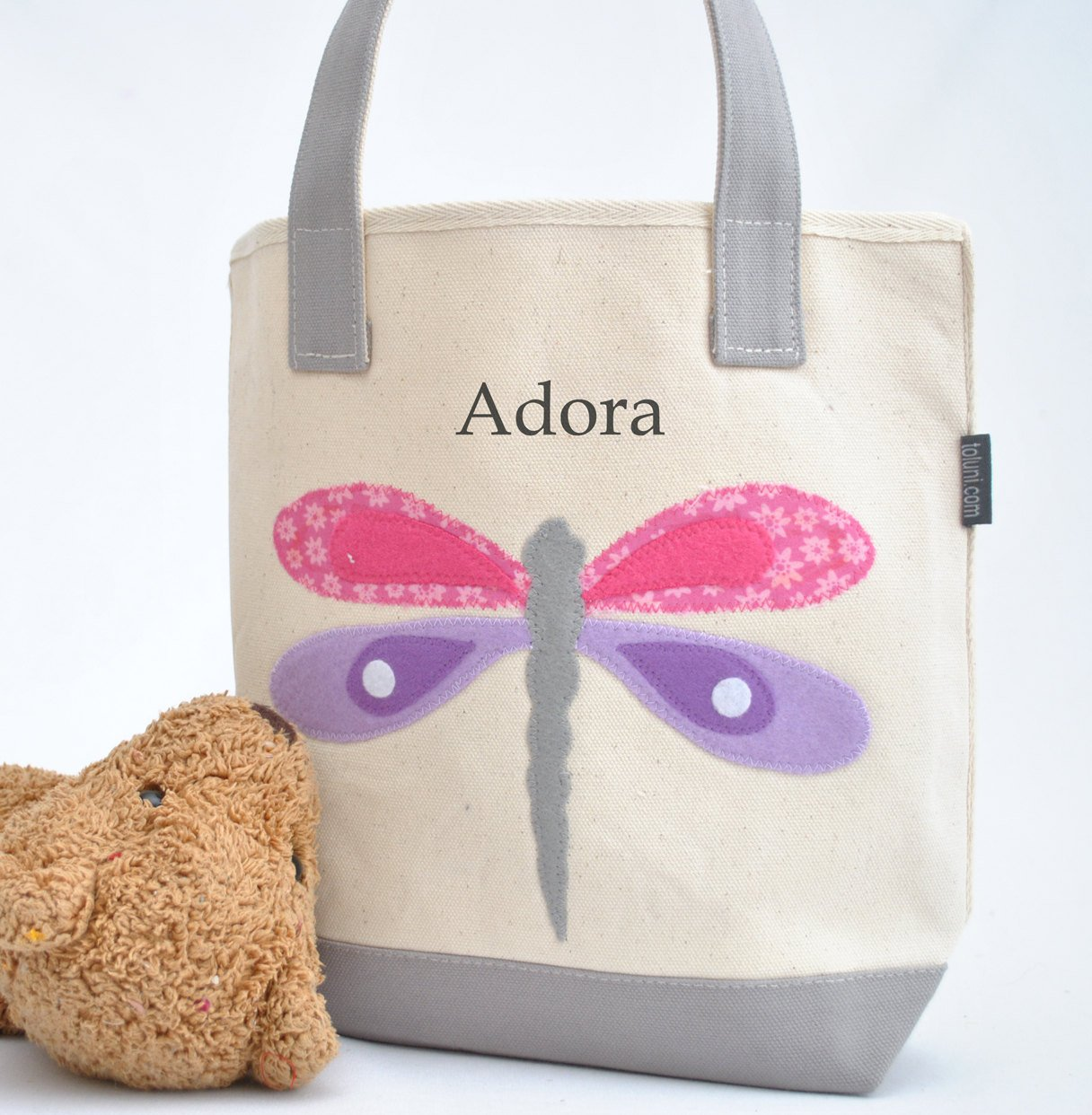 Small Personalized Dragonfly Tote, Girls Library book bag, Preschool Tote bag
