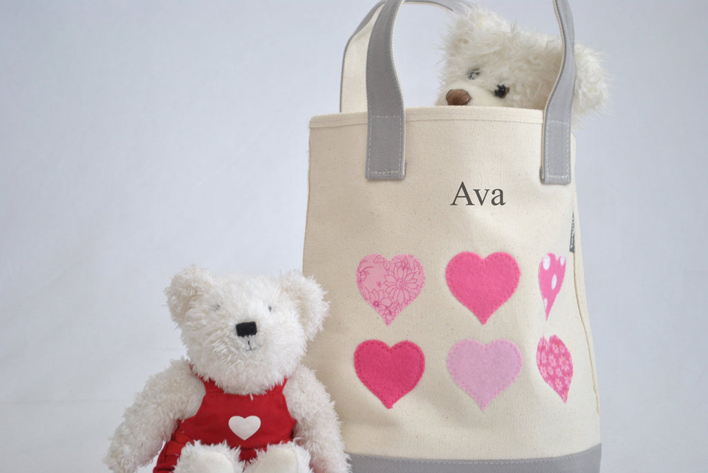Personalized Small Hearts Tote bag, Valentine gift tote