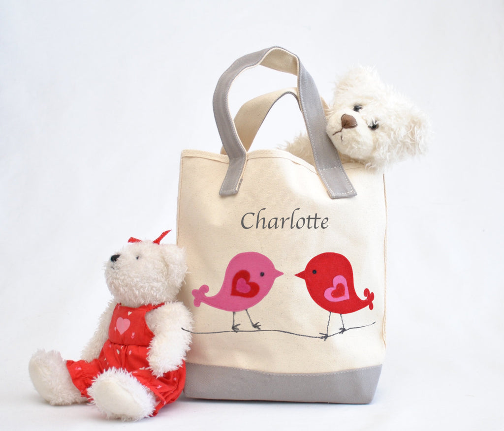 Love Birds small Tote bag, Valentine gift tote bag