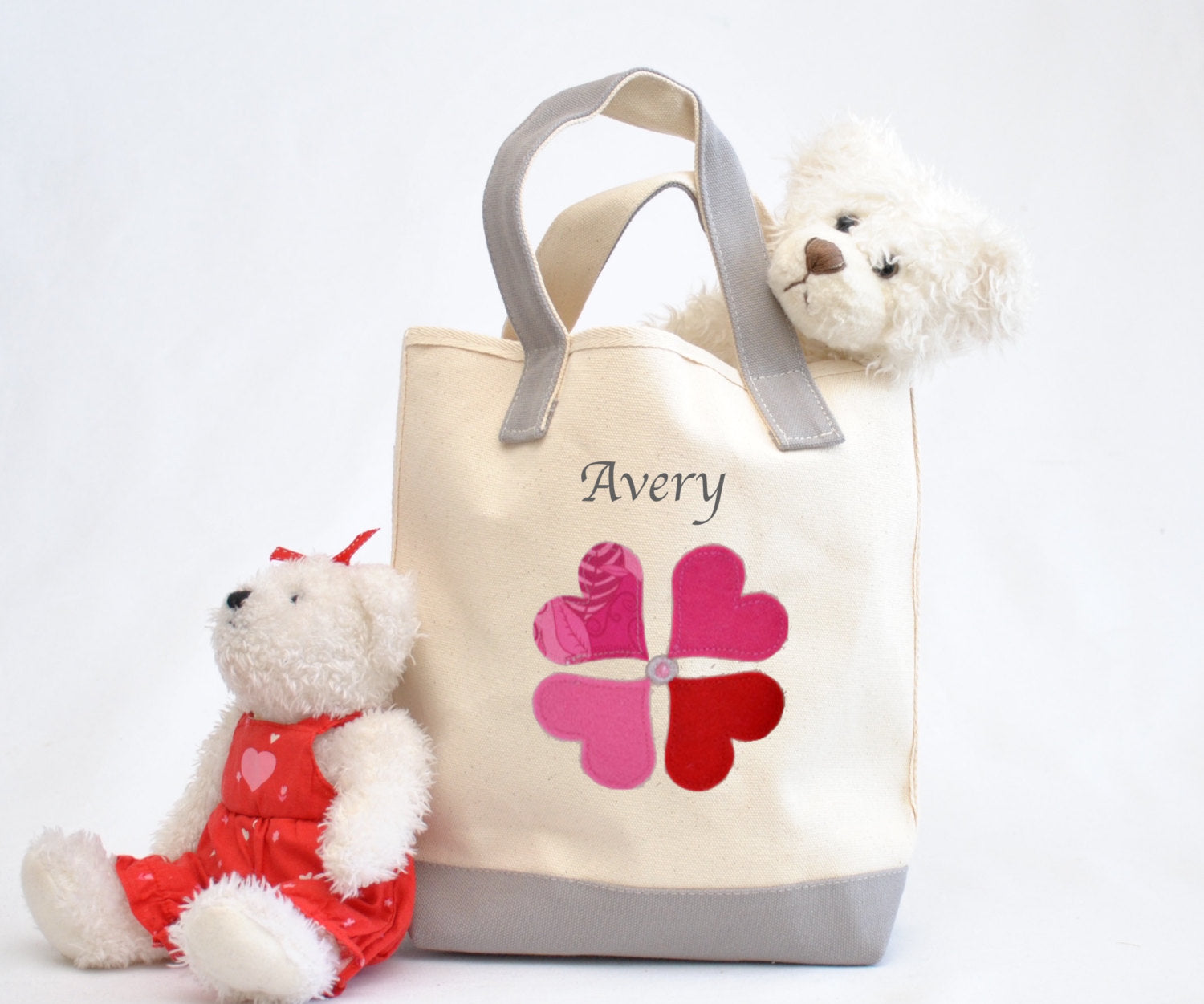 Heart Flower Tote bag, Valentine gift tote bag