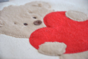 Small Teddy bear heart tote, Valentine gift tote bag