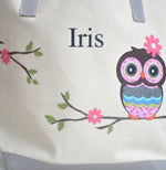 Personalized Large Owl Tote bag, Girls Preschool tote Bag