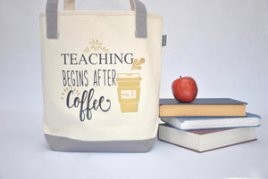 Teacher Tote Bag - Coffee, Kindergarten, Preschool teacher appreciation gift