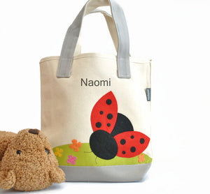 Personalized Small Ladybug Tote bag, Girls Preschool tote Bag