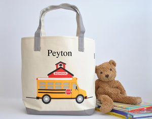 Personalized Large Yellow School Bus tote bag, Preschool tote bag, Library bag