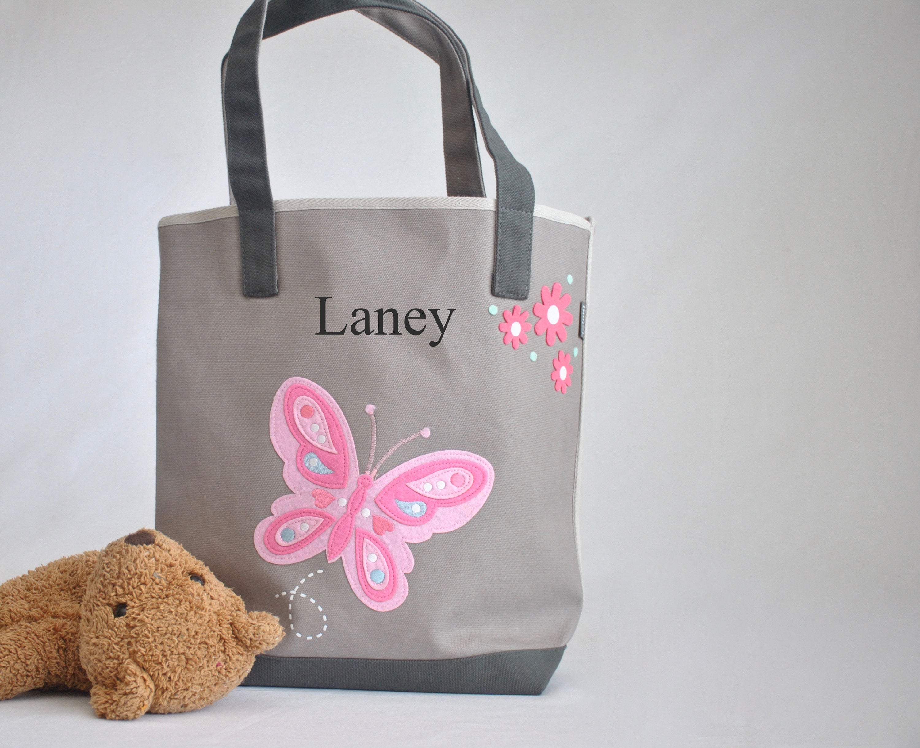 Gray Medium Butterfly Tote, Girls Preschool tote Bag