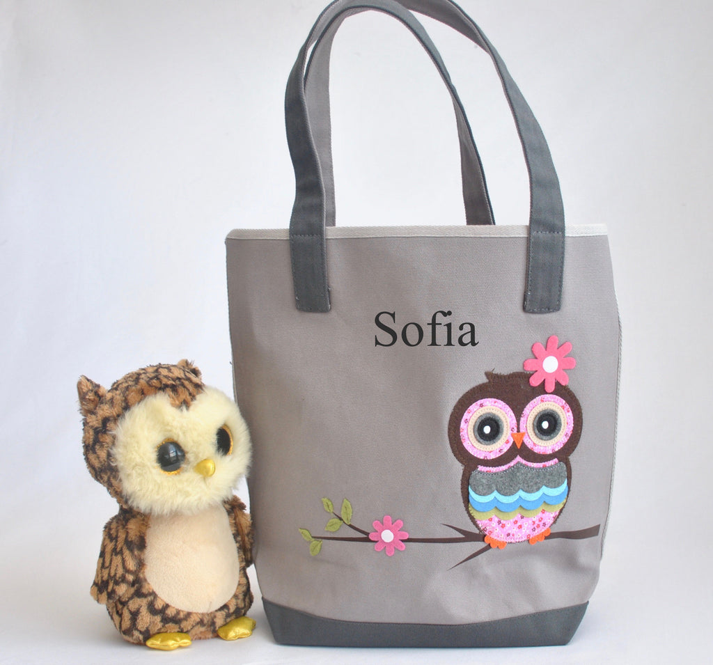 Gray Personalized Owl Tote bag, Girls Preschool tote Bag
