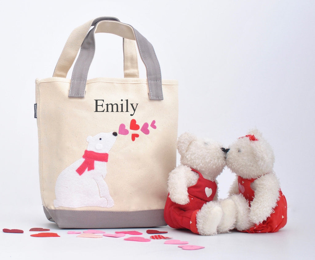 Small Polar bear heart tote, Valentine gift tote bag