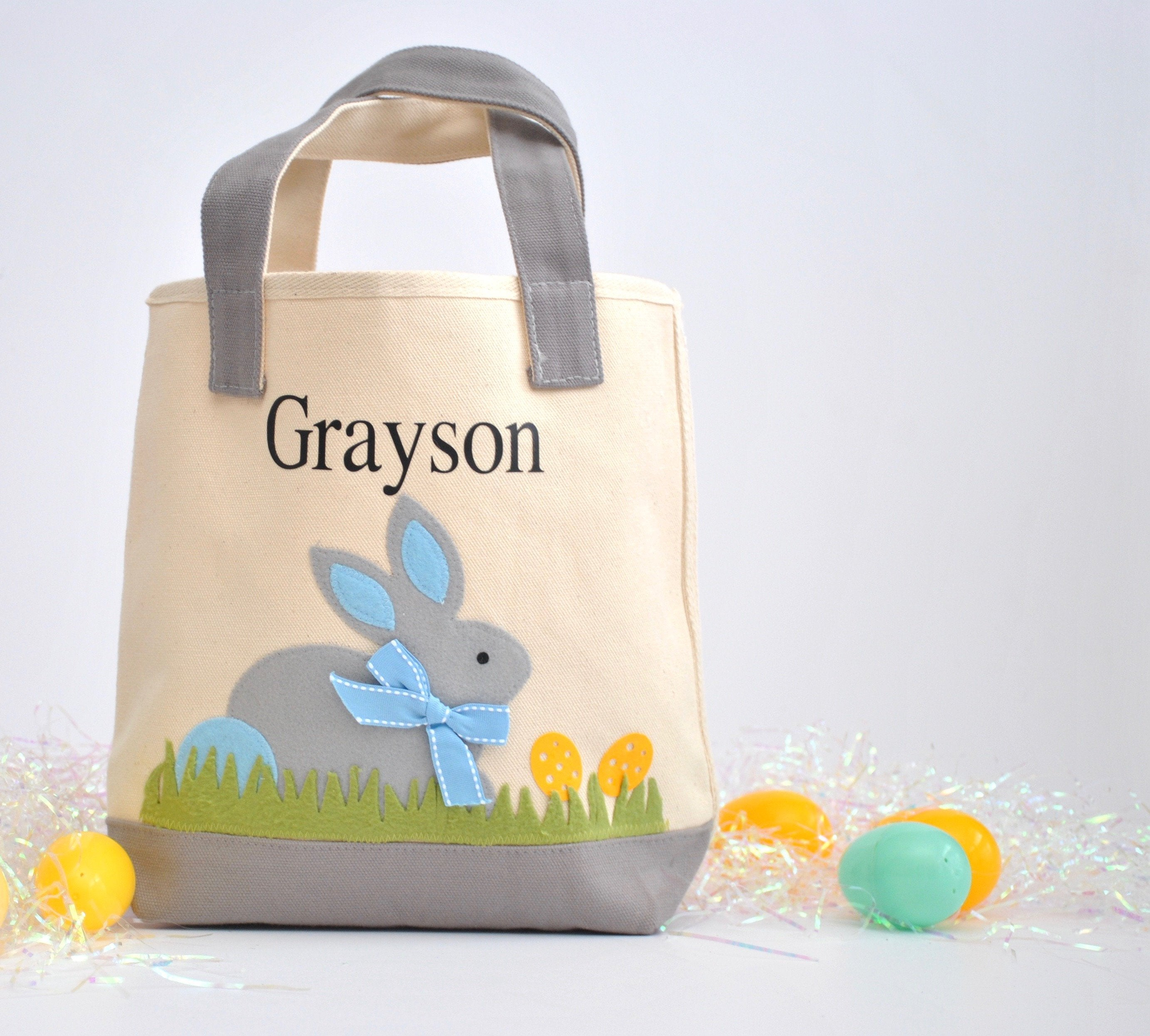 Personalized Easter tote, Monogram Easter Basket, Gray/ Blue Bunny tote