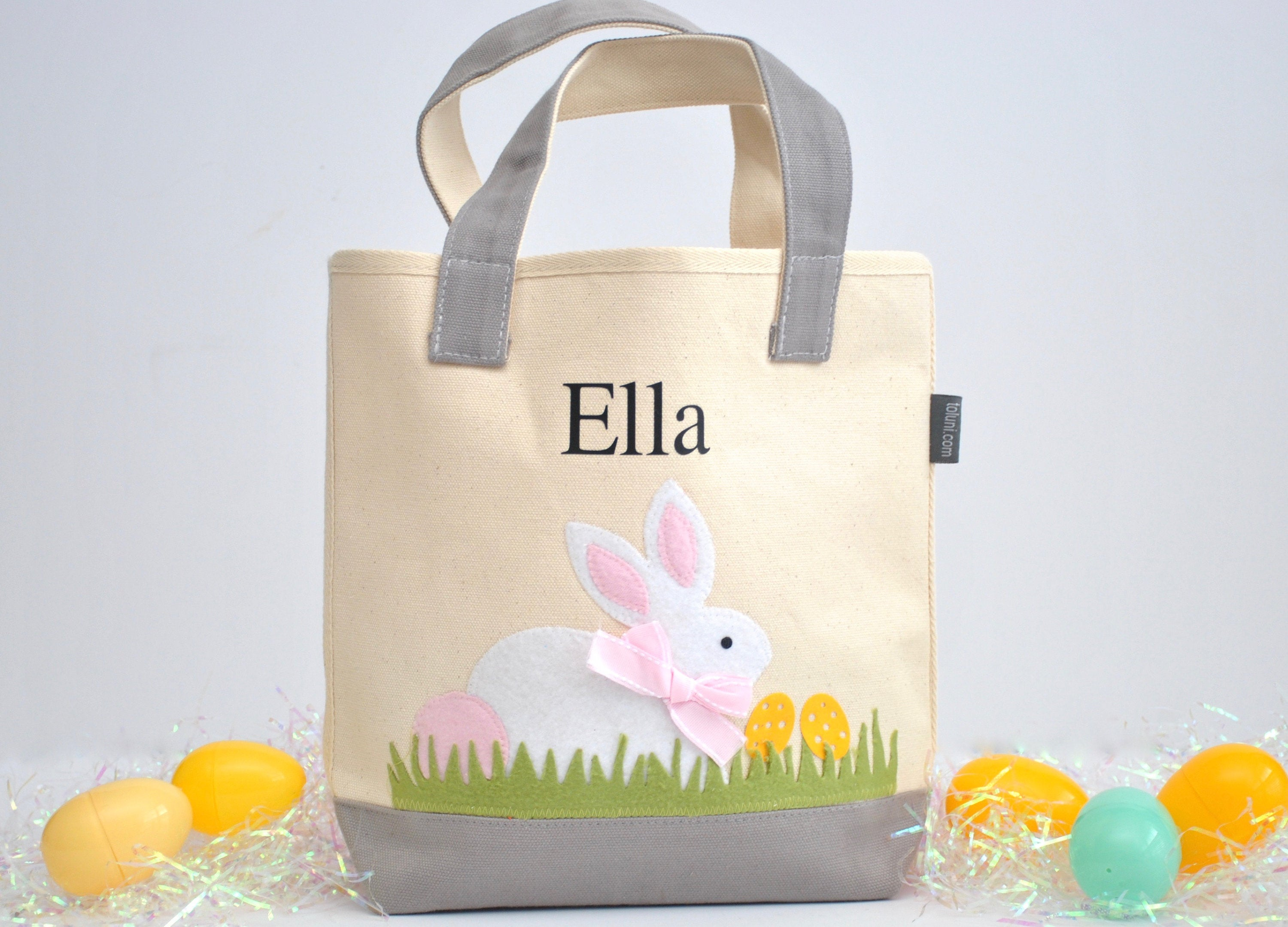 Personalized Easter tote, Monogram Easter Basket, White/ Pink Bunny tote