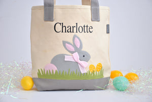 Personalized Easter tote, Monogram Easter Basket, Gray/ Pink Bunny tote