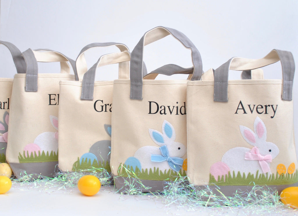 5 Personalized Easter totes, Monogram Easter Baskets