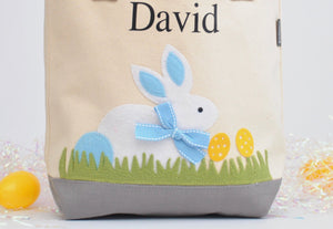 Personalized Easter tote, Monogram Easter Basket, White/ Blue Bunny tote