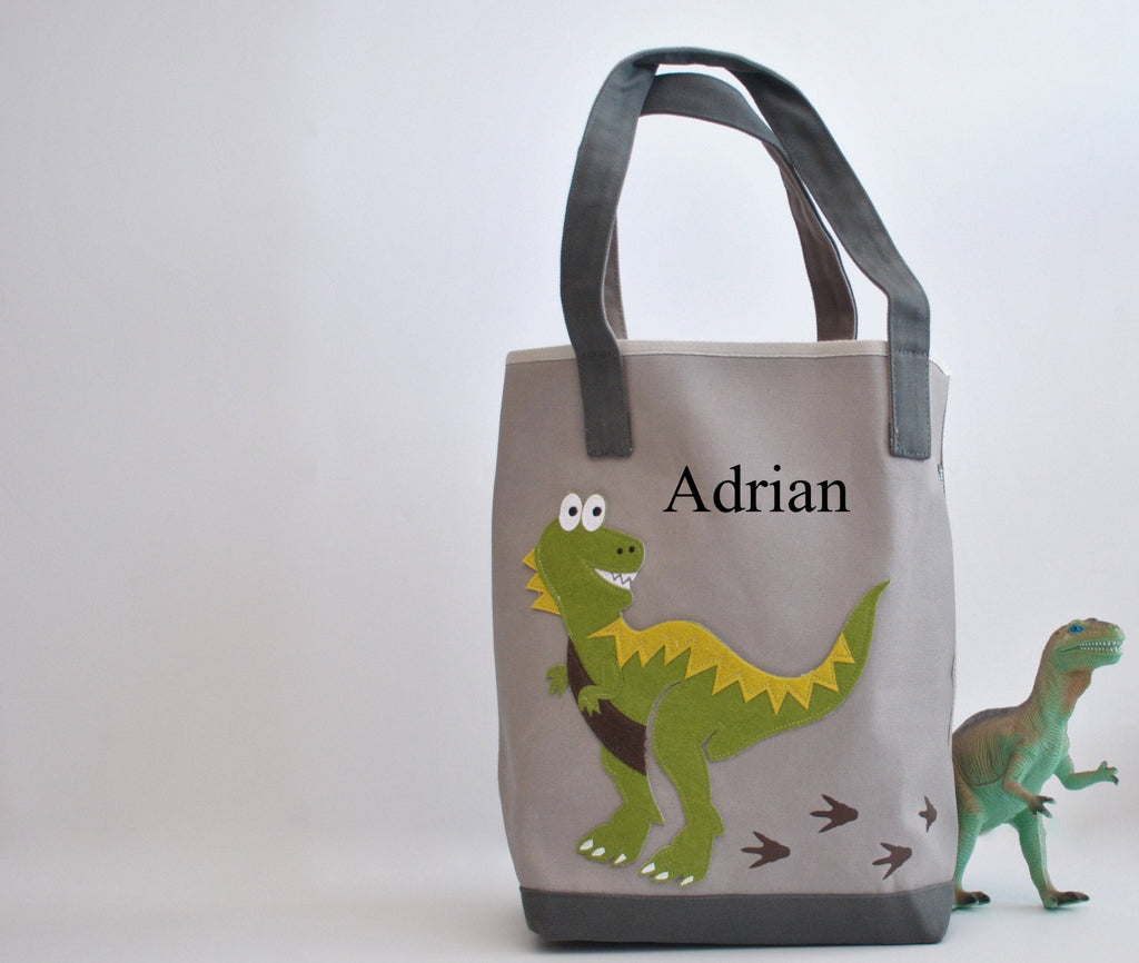 Personalized Dinosaur Tote Bag -Medium Gray, Boys Preschool tote bag, Kids Library book bag