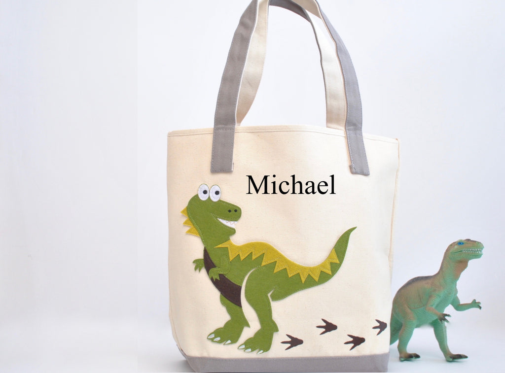 Personalized Dinosaur Tote Bag -Large, Boys Preschool tote bag, Kids Library book bag