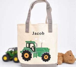 Gray Personalized Medium Train Tote, Boys Preschool tote bag
