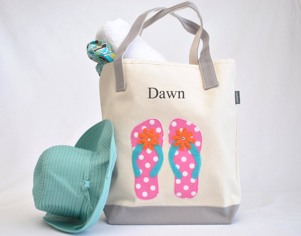 Pink Flip Flop Tote Bag, Swim and Beach tote
