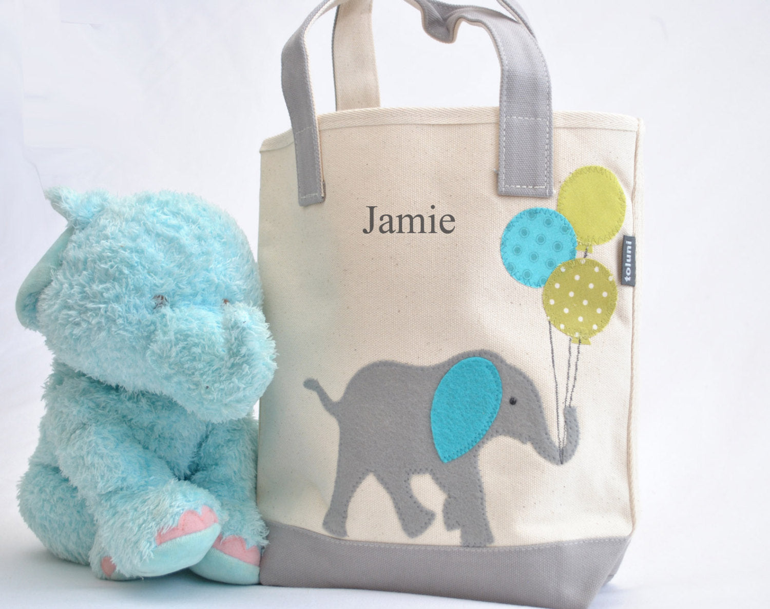 Personalized Small Elephant Tote (Lime), Elephant Nursery Baby Shower gift,  Kids Library bag