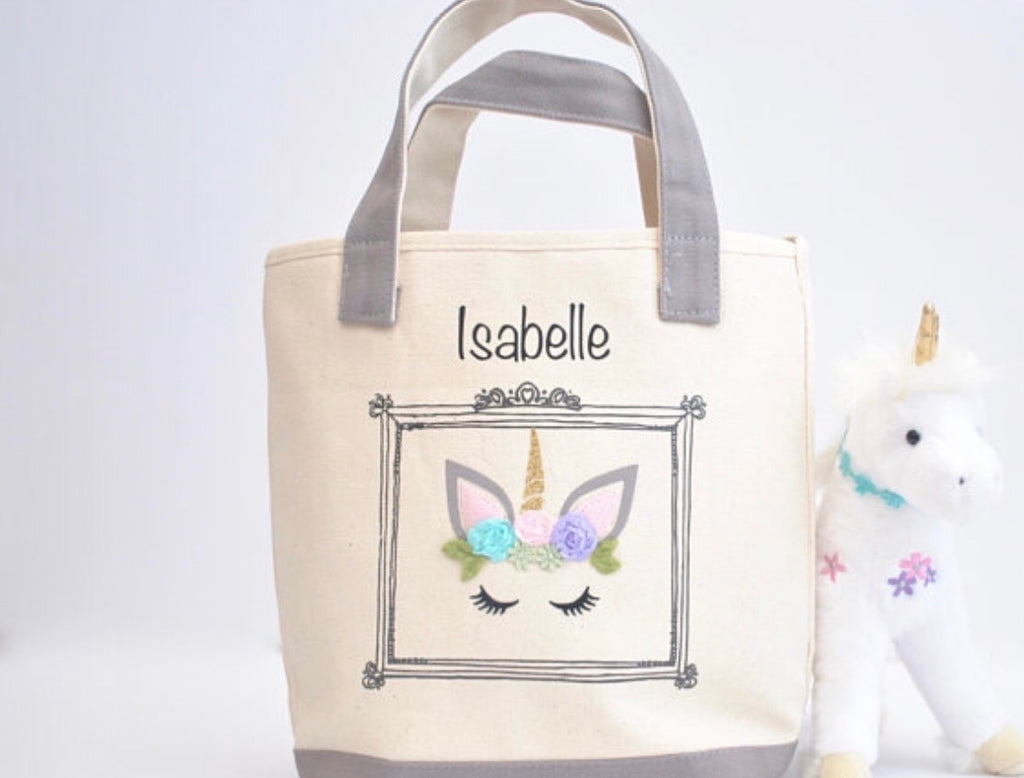 Small Unicorn Face tote bag, Girls Library book bag, Preschool Tote bag