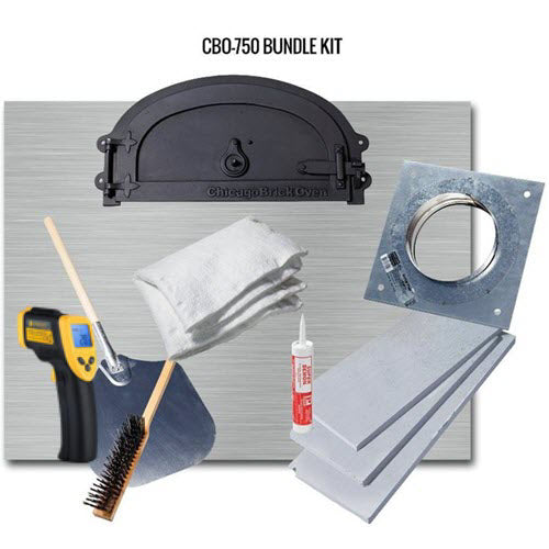 Chicago Brick Oven Accessory Kit with Pizza Peel, Oven Brush, and Infrared Thermometer