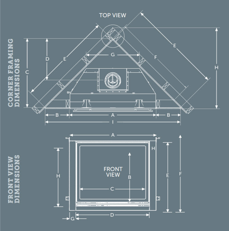 Kingsman ZCV39 ZCV42 dimensions diagram zero clearance direct vent fireplace