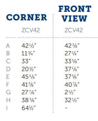 Kingsman ZCV42 Measurements for dimensions diagram zero clearance direct vent fireplace